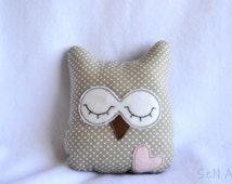 Small Owl Pillow Handmade Owl Soft Toy Nursery Decor Decorative Pillows Stuffed Toy Plush Owl Softie Plushie Animals Stuffed Animals