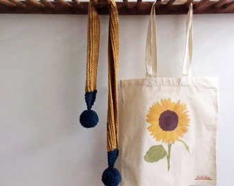 hand printed sunflower  tote bag