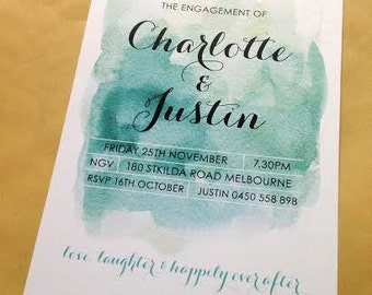 Engagement Invitation - teal watercolour