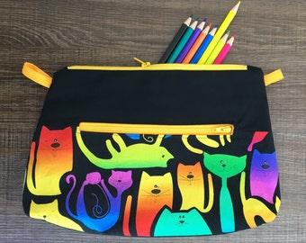 Colorful pencil case, Cat pocket for pencils, Black make-up case, Colorful storage pouch, **customizable**