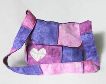 Messenger bag for girl - Patchwork crossbody bag - Pink bag - Purple shoulder bag