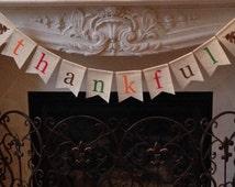 "burlap ""thankful"" banner - rustic Thanksgiving bunting- Autumn home decor - Thanksgiving decoration - Fall decoration"