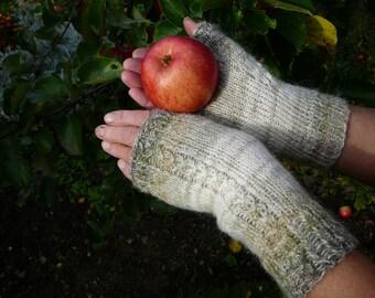 Hand knit gloves fingerless gloves women gloves white gloves green gloves gradient yarn gloves