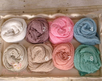 Newborn Rayon Wraps photography props. 11 colors. Newborn Stretchy Wraps.
