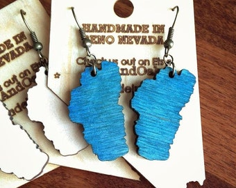 Wooden Lake Tahoe earrings made from Baltic Birch - Free shipping