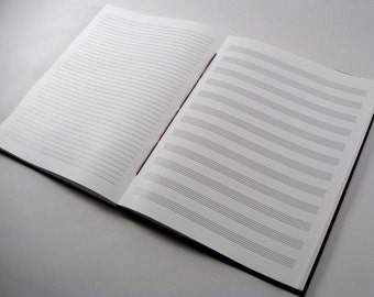 8.5x11 Music+Lined Journal: Handmade Coptic-Bound Music Theory Notebook or Songwriting Journal.