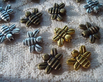 20 Bumble Bee Spacers. 3 Colors! 12x14mm Quality Finish. Double Sided. Antiqued Gold, Silver, or Bronze Finish ~USPS Ship Rates From Oregon