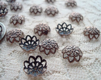 Sale! 144 Dark Copper Filigree Lotus Caps. 9x3.5mm. Sparkling, Antiqued Copper Pliable Adjustable, Form Fitting to 11x2mm. ~USPS Ship Rates