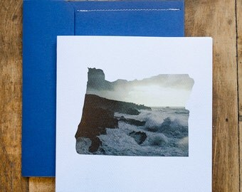 Winter Storm On the Oregon Coast Square Card! Blank on the inside with handmade envelope!