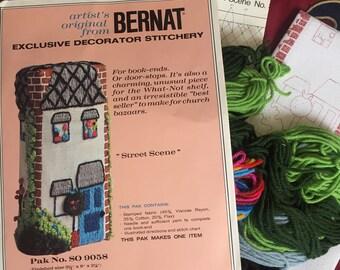Vintage Bernat Street Scene crewel embroidery kit.