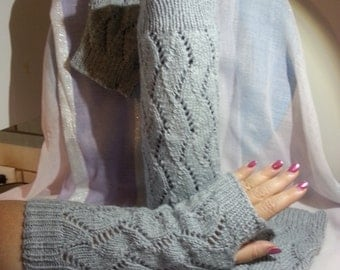 Hand-knitted women matching set of leg warmers and fingerless gloves.Fashion Accessory
