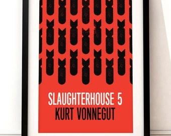 Slaughterhoue 5 print, literary art print, Slaughterhouse 5 book jacket print, typographic print, book cover, literary print, Kurt Vonnegut
