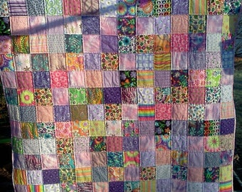 MADE to ORDER Unique patchwork quilt.   Hand quilted crib size
