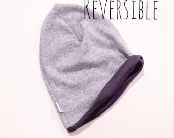 SALE- Newborn Baby Toddler Grey Knit REVERSIBLE Slouchy Beanie Hat