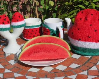 Watermelon tea cosy, mug hugs and egg cosies