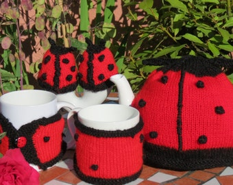 Ladybird tea cosy, mug hugs and egg cosies