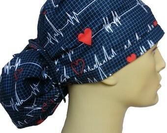 EKG ECG heartbeats QRS surgical scrub hat theatre cap ponytail