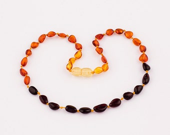 Natural Baltic Amber Baby Teething Necklace with Polished Oval Rainbow Color Beads