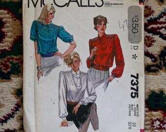 Vintage 1980s McCall's Misses blouse pattern 7375 new uncut