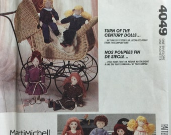 """Vintage 1989 McCall's Crafts 4049 Turn of the Century 20"""" Stuffed Soft Sculptured Dolls and Clothes Sewing Pattern by Marti Michell"""