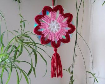 15% OFF - Crochet Mandala Suncatcher - Double Sided Sun Catcher Mobile - Repurposed/Upcycled CD - Window Decor - Crocheted Doily Ornament