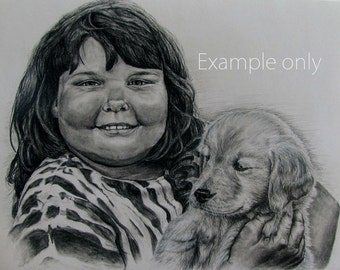 Custom made charcoal portrait-11x14-Example only
