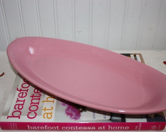 Vintage Hall Pink Small Oval Platter,  #524,  Vintage Hall Pottery,   Pink Hall Pottery, Pottery Serving Platter,  Small Pink Platter, Hall