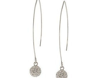 Sterling Silver Pave Crystal Balls On Extended Fish Hook Earrings ~ Delicate, Beautiful & Elegant