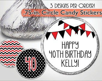 Custom Kiss Stickers, Red and Black Flags, Candy Label, Chevron Sweet 16, Dots, Quinceanera, 21st, 30th, 40th Birthday Favor, Personalized