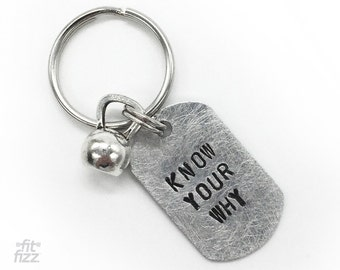 Fitness Motivation Keychain | Know Your Why Kettlebell Charm | Workout Motivation | Crossfit Gift | Kettle Bell Keyring | Sports Gifts