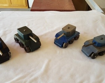Painted Tank Handmade Wooden Toy
