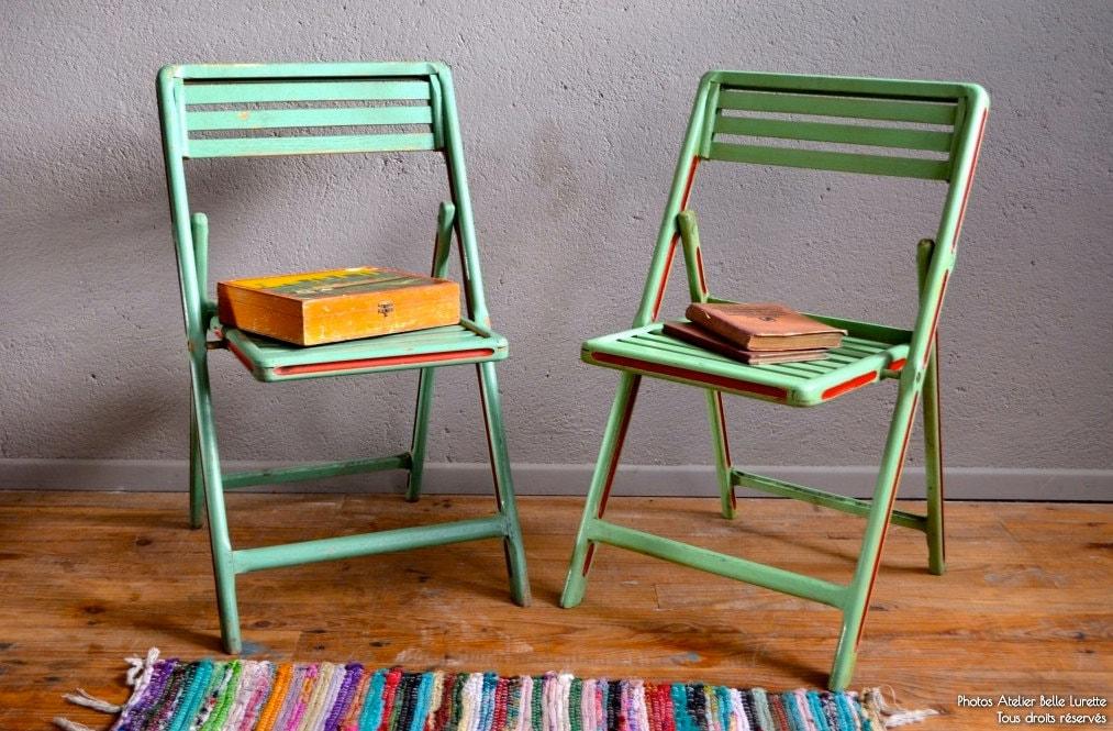 Chaises pliables vintage r tro enfant bicolore ann es 50 kid holding chair pa - Chaise haute pliable ikea ...