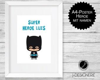 A4 Art Print with name I super Heroe