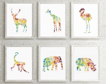 Safari animal art etsy - Schilderij voor meisje slaapkamer ...