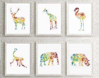 African Safari Animal Art - Watercolor illustration - Set 6 prints - Nursery Animal painting - Bright colors - Flamingo Elephant Giraffe art
