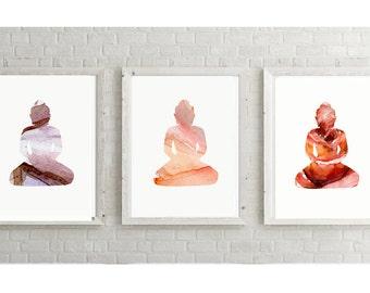 Buddha Art watercolor paintings - Giclee Prints - Orange red purple  - Buddha illustration - Buddha painting - Buddhism Meditation room art