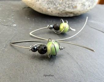 Boucles d'oreilles vert gris noir, céramique, hématite, lave et acier inoxydable (GC3)