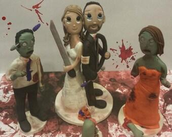 Custom 'The Walking Dead' Themed Wedding Cake Topper