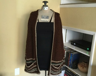 Brown Striped Slouchy Cardigan Sweater