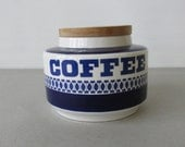Vintage Arklow Coffee Canister - coffee storage, mid century modern style, cobalt blue and white, wood lid | Made in Ireland