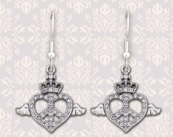 Crown Peace Heart Earrings - 51296