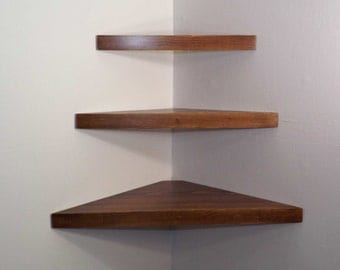 3 Piece Set Floating Corner Shelves with Dark Walnut Stain Handmade in the USA