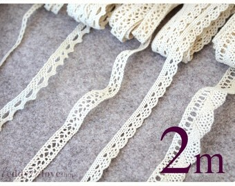 2 meters width 10 mm Cotton Ivory beige Lace