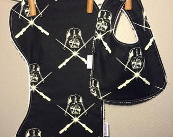 Star Wars Glow in the Dark Baby Bib, Burp Cloth Set