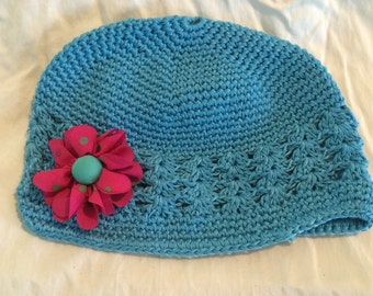 Turquoise Blue Crochet Beanie Hat, Kufi Hat with Pink and Blue-Green Polka Dot Flower
