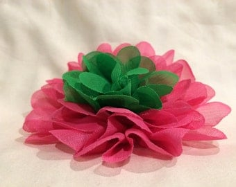 Hot Pink and Green Fabric Flower Hair Clip on Alligator Clip