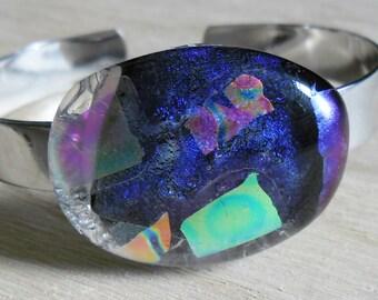 Rhodium Plated, Adjustable Bangle Bracelet, Multi-Coloured, Purple Base Dichroic Glass.