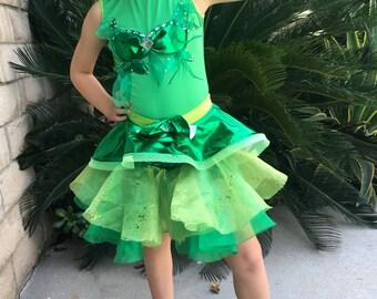Poison Ivy  Costume Skirt Leotard Girls Size 2T,3T,4,5,6,7,8,9,10,12Y