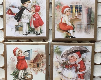 COASTERS!!! Vintage style Christmas coasters with gold trim!