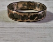 Thick Set Hammered sterling silver ring which has then been Oxidised Man's Ring